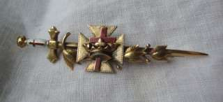 Vintage Knights Templar Masonic Ceremonial Sword Pin Jewelry Enamel