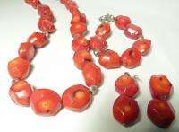 BIG NATURAL RED CORAL NECKLACE BRACELET EARRINGS ~ STERLING SILVER