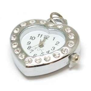 TOC BEADZ Crystal Set Heart Shaped Watch Slide on Bead Jewelry