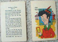 Vintage OLD MAID CARD GAME Circus Edition 1959 Ed U Cards with FLIP