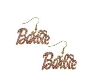 NICKI MINAJ BARBIE Hook Rhinestone Earring Gold Pink
