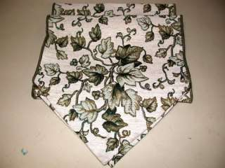 Ivy Leaf Tapestry Table Runner ~ Green Gold ~ 12.5 x 71 Inches