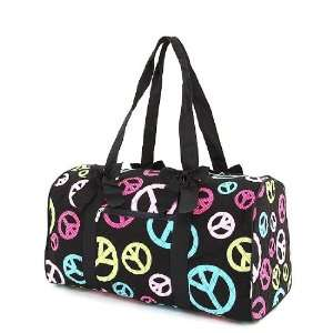 Large Quilted Peace Sign Duffle Bag (Black/Multi) Sports