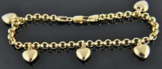 Italian 14K Yellow Gold Puffed Heart Charm Rolo Cable Chain Bracelet