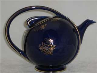 HALL 6 Cup Cobalt Blue Air Flow Tea Pot Gold Overlay