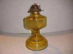 ANTIQUE~EAGLE BURNER~11 GOLD GLASS OIL LAMP~LEAF DESIGN