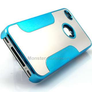 Aqua Blue Chrome Mirror Metal Hard Case Cover Snap On for Apple iPhone