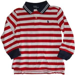 Ralph Lauren Toddler Boy Polo Pony Mesh Red White Blue Shirt, Size 3
