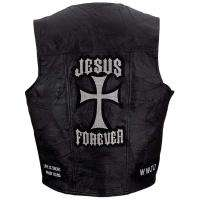 Giovanni Navarre Mens Black Leather Cross Christian Motorcycle Vest M