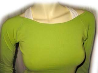 Womens APPLE GREEN Long Sleeve Stretch Shirt TOP Small Sm S 3/5