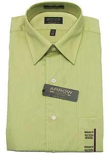 ARROW Mens Satin Twill Green Stripe Dress Shirt Regular Fit NWT $38