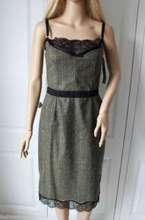 DOLCE & GABBANA GREEN BLACK LACE PENCIL DRESS 44 NWT
