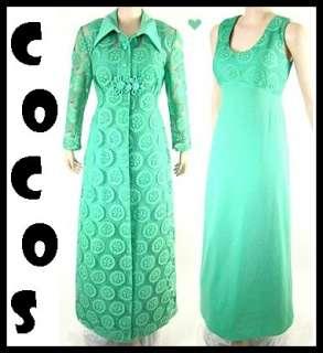 VTG 60s Jade Green LACE Maxi Dress & Coat Party Suit M/L