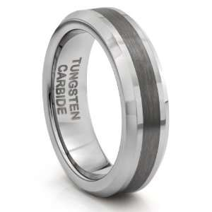 6MM Tungsten Carbide Brushed Silver Wedding Band Ring (Available Sizes