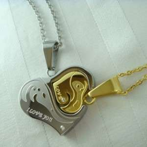 cover Heart for Lover Couples Set Stainless Steel Necklace N76