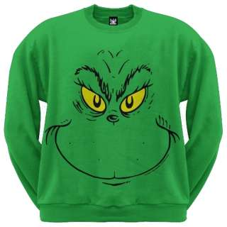 Dr Seuss   Grinch Face Crew Neck Sweatshirt   X Large
