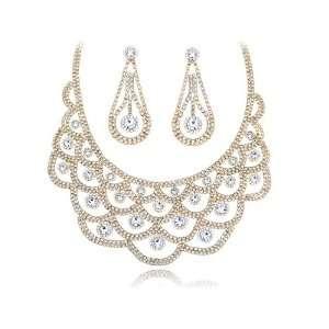 Golden Levels Henna Inspired Bib Swarovski Crystal Element
