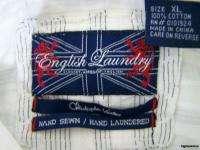 Size XL Mens Shirt White Hand Sewn EUC Designer EL Extra Large