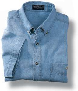 HARBOUR GLEN NEW MENS SHORT SLEEVE DENIM SHIRT