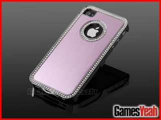 Luxury Bling Diamond Crystal Aluminium Hard Case Cover iPhone 4 4S 4G