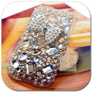 3D Bling Gold Gem Hard Skin Back Case Cover For Huawei Ascend II 2
