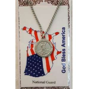 Peweter National Guard Medal & 24 Chain, Prayer Card Set. Jewelry