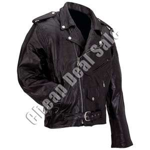 Mens Motorcycle Jacket Plain Black Buffalo Leather Biker Coat S Small