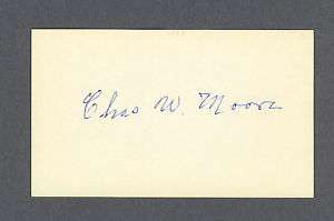 Charles Moore signed baseball index card 1884 1970