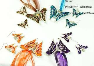 H761 Modern Fashion Wedding Gemstone Butterfly Necklace Pendant