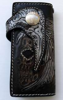 INDIAN SKULL TRIBAL HARLEY MOTORCYCLE GENUINE STINGRAY SKIN LEATHER