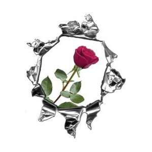 Mini Ripped Torn Metal Decal with Pink Rose  REFLECTIVE