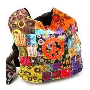 Polka Dot PEACE Sign Nepali Crossbody Bag (Colors Vary