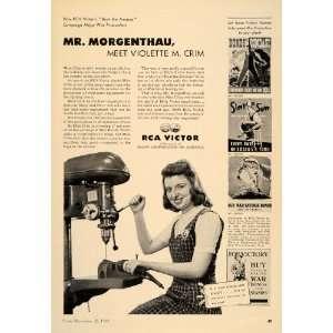 1942 Ad RCA Victor Radio Morganthau Violette Crim WWII