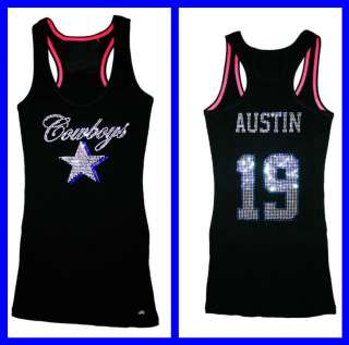 Dallas Cowboys Miles Austin Bling Jersey Tank Top Tee T Shirt Long