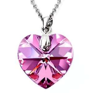 Gold Plated 925 Sterling Silver Genuine .75 inch Fuchsia Pink Crystal