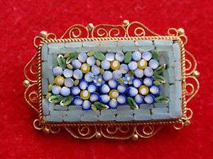 VINTAGE GOLD PLATED ITALIAN MICRO MOSAIC FLOWER BROOCH PIN