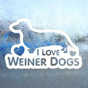 I Love Weiner Dogs White Decal Car Window Laptop White