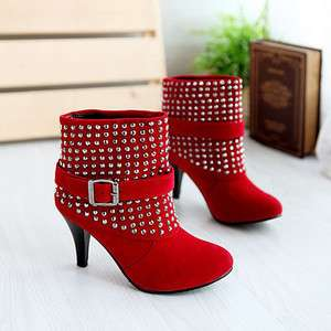 New Fashion Red SexySuede Ankle High Heel Boots US Size5 9 F025