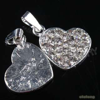 8x New Heart Love Alloy Charm Rhinestone Pendant 140294