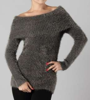 MM APPAREL Sexy Grey Ultra Soft Cozy Long Sleeve Off Shoulder Sweater