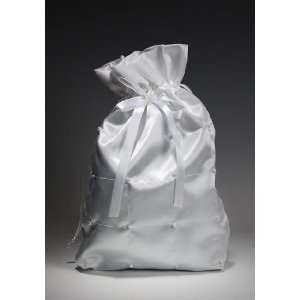 White Satin Bridal Wedding Bag with Pearl Accents for Collecting Money
