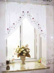 Flower Trail Butterfly Embroidery Crochet Lace Curtain Swag Clearance