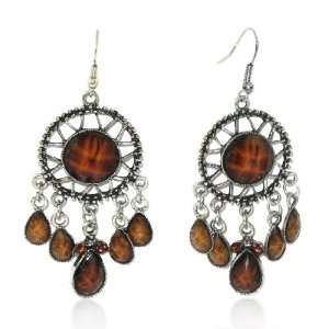 Ladies Silver Hollow Out Agate Charm Hook Dangle Earrings
