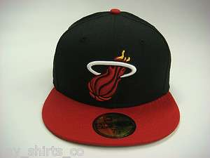 Miami Heat Black Red White Yellow Authentic NBA New Era Fitted Cap