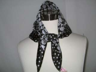 BLACK GRAY POLKA DOT SILK SQUARE NECK HAIR PURSE TIE SCARF NWT