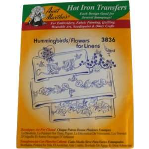 Aunt Marthas Hot Iron Transfers 3836 Hummingbirds, Flowers for Linens