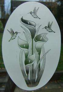 21x33 LILY HUMMINGBIRDS Etched Glass Window Decal Cling