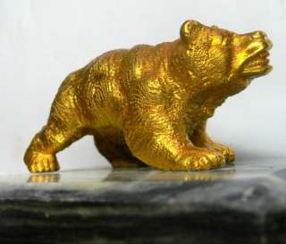 19C RUSSIAN GOLD GILDED BRONZE BEAR  GRAY MARBLE STAND