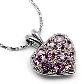 Swarovski Crystal ~ICY PINK HEART~ Pendant Necklace