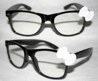 Wayfarer Nerd Glasses Hello Kitty white Bow Black frame clear lense